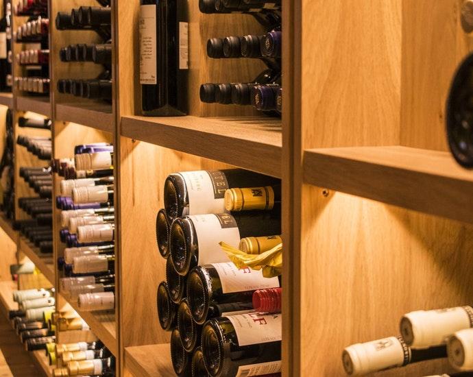 Shelves of wines in Bath